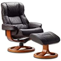 Fjords 855 Loen Large Leather Recliner Norwegian Ergonomic Scandinavian Lounge Reclining Chair Furniture Nordic Line Genuine Havana Dark Brown Leather Cherry Wood