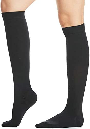 Beister Closed Toe Knee High Calf Compression Socks for Women & Men, Firm 20-30 mmHg Graduated Support for Varicose Veins, Edema, Flight, Pregnancy, Black, Large
