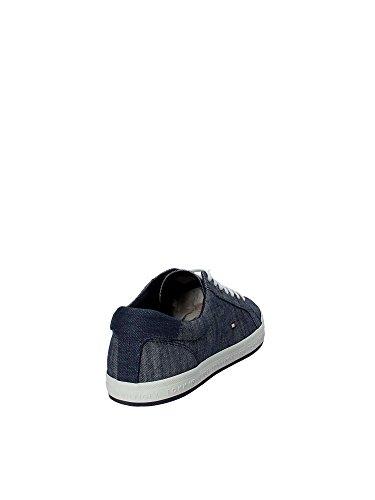 Scarpe Ginnastica da Sneaker Blu Pique Uomo Hilfiger Basse Essential Denim Tommy qgwxBFHXO