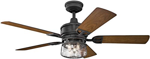 Kichler Lighting 310139DBK Lyndon Patio-52 Ceiling Fan with Light Kit, Distressed Black Walnut Blade Finish, 52 Inch