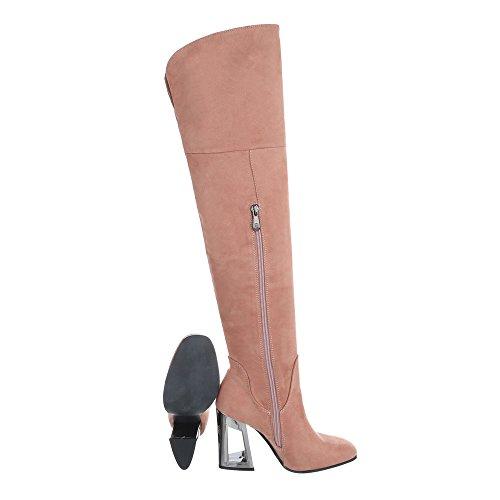 Stiefel Schuhcity24 Overknee High Damen Schuhe Altrosa Heels T1cFKlJ