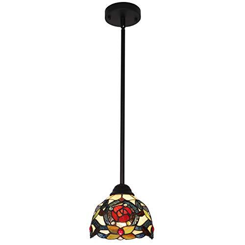 (VINLUZ Lighting Tiffany Style 1-Light Art Victorian Mini Pendant Lights Traditional Vintage Hanging Ceiling Light Fixtures Dining Room Bedroom Chandelier Lights 7.5inch Glass Shaded)
