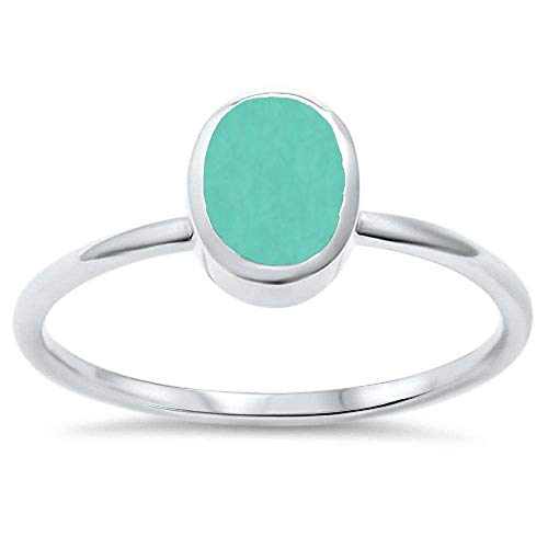 CloseoutWarehouse Oval Simulated Turquoise Classic Band Ring Sterling Silver Size 10