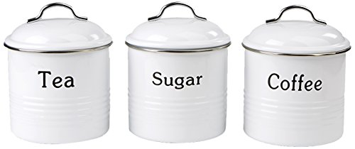 Mind Reader 3 Piece Coffee, Sugar,Tea Metal Canister Set, White (Tea Silver Coffee Set)