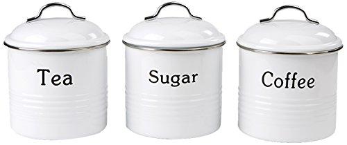 Mind Reader 3 Piece Coffee, Sugar,Tea Metal Canister Set, White (Coffee And Sugar Sets Tea)
