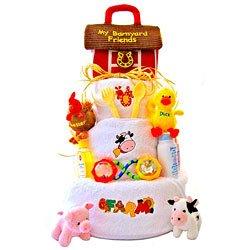 Barnyard Baby Diaper Cake (Funny Farm 3 Tier Diaper Cake - Great)