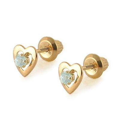 Kids 14K Yellow Gold Genuine Aquamarine Heart Stud Earrings - March Birthstone (Baby Earrings Birthstones March)