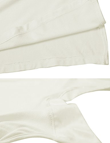 GYS Womens Satin V Neck Bamboo Full Slip Dress(Black,white,S-2XL,One Piece) (M (Bust 34.3″), White)