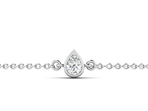 Or Blanc 9 ct Bracelet Améthyste Solitaire, 0.28 Ct Améthyste, GH-SI, 1.01 grammes.