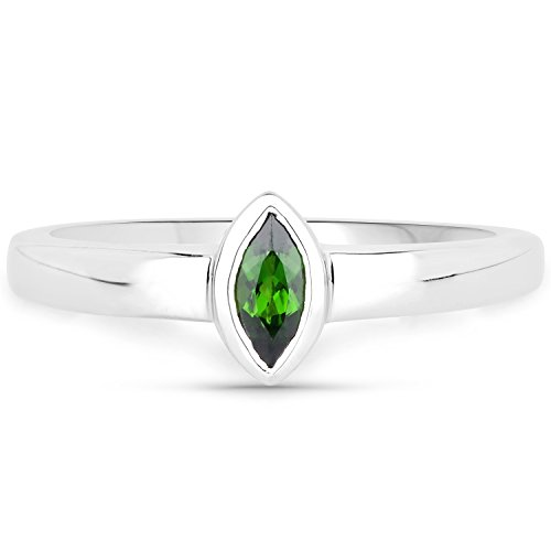 - LoveHuang 0.23 Carats Genuine Chrome Diopside Marquise Bezel Ring Solid .925 Sterling Silver With Rhodium Plating