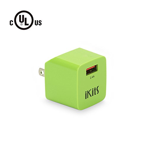 iKits (UL Certified)5V 2.4A USB Wall Charger Plug/Ultra Compact Foldable Travel Charger, Single Port Power Adapter with Smart IC for iPhoneX, 8, 8Plus,7,7p,6, iPad, Samsung,LG,HTC,Kindle,etc, Green