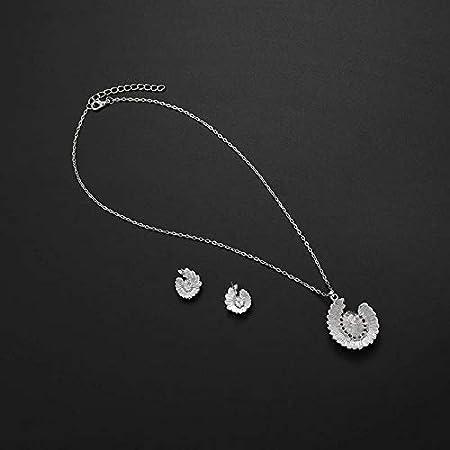 Type-1 Hosaire Bijoux Ensemble Collier Pendentif Boucles doreilles Diamant Perle Mod/èle Accessoires de Bijoux pour Femme et Fille Soir/ée de Mariage Couleur Argent