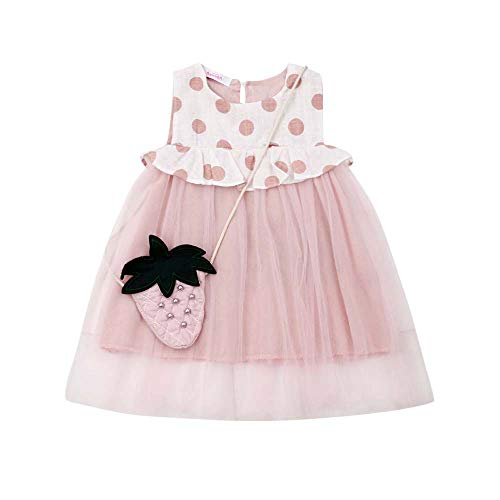 - Toddler Baby Girl Princess Party Dress Sleeveless Ruffle Dot Tutu Tulle Dress with Fruit Bag Vacation Summer Outfits (Pink, 3-4 Years)