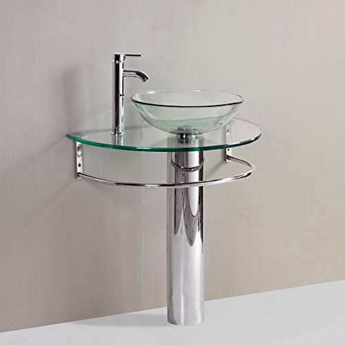 "24"" Bathroom Pedestal Vanity Glass Vessel Sink Set"