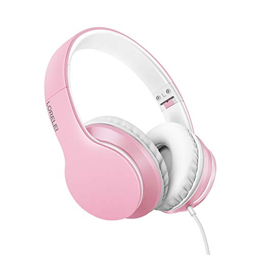 LORELEI X6 Over-Ear Headphones with Microphone, Lightweight Foldable & Portable Stereo Bass Headphones with 1.45M No-Tangle, Wired Headphones for Smartphone Tablet MP3 / 4 (Pearl Pink)