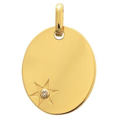 So Chic Bijoux © Pendentif Mixte - Or Jaune 375/000 (9 carats) 0,80gr - Dimensions: 12 x 15 mm (hors bélière) - Médaille Ovale Etoile Diamant 0,01ct - Personnalisable : Gravure offerte