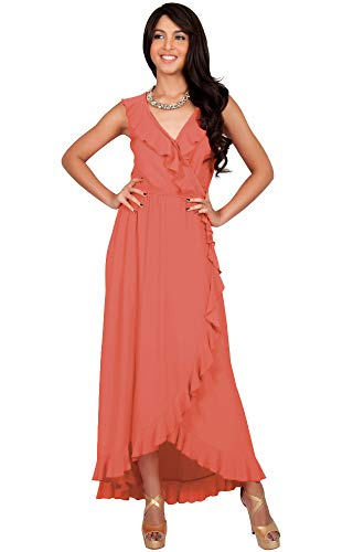 a9858b9191a KOH KOH Womens Long Summer Sleeveless Vneck Wrap Ruffle Evening Gown Maxi  Dress