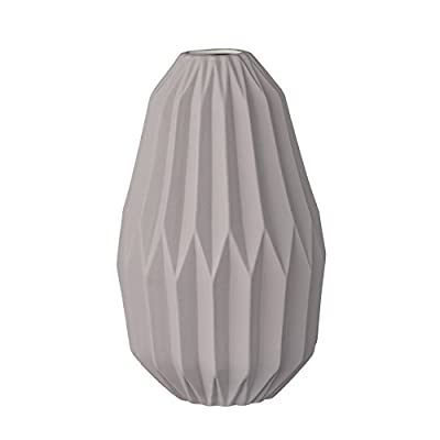 Bloomingville Matte Light Grey Fluted Ceramic Vase - Made with ceramic Sealed to hold water Wipe clean with a damp cloth - vases, kitchen-dining-room-decor, kitchen-dining-room - 31r 6pdcSZL. SS400  -
