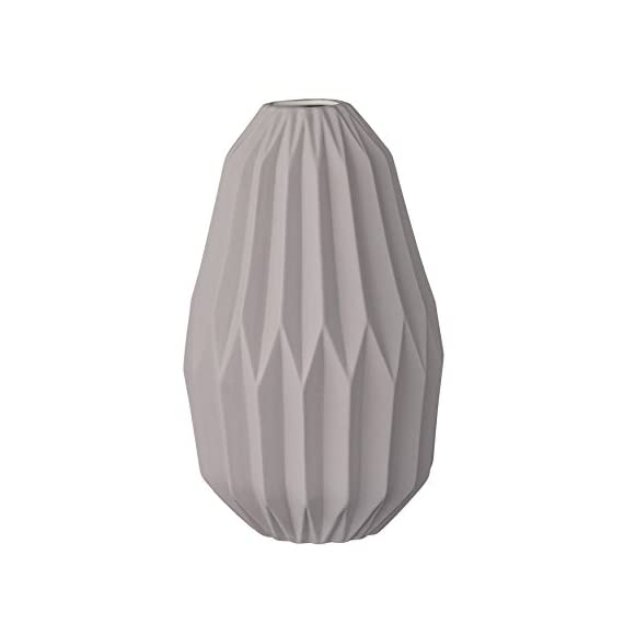 Bloomingville Matte Light Grey Fluted Ceramic Vase - Made with ceramic Sealed to hold water Wipe clean with a damp cloth - vases, kitchen-dining-room-decor, kitchen-dining-room - 31r 6pdcSZL. SS570  -