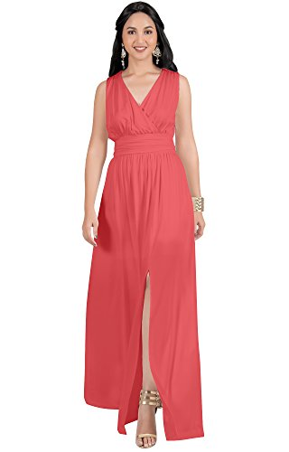 KOH KOH Plus Size Womens Long Bridesmaid Wedding Guest Cocktail Party Sexy Sleeveless Summer V-Neck Evening Slit Day Full Floor Length Gown Gowns Maxi Dress Dresses, Watermelon Pink 2XL 18-20