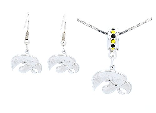 IOWA HAWKEYES PENDANT NECKLACE AND EARRING SET CAN ALSO BE USED AS A BRACELET CHARM -