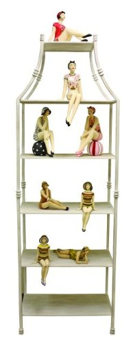 - Intelligent Design White Pagoda Iron Etagere | Six Shelf Book Asian Cottage