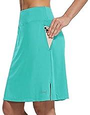 "BALEAF Women's 20"" Modest Knee Length Skirts Athletic Tennis Golf Casual Skorts Zipper Pocket UV Protection Soft Sports"