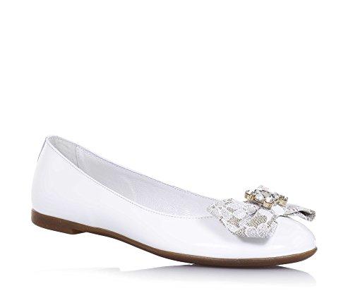 MISS GRANT - Ballerine blanche en vernis, made in Italy, style élégant et glamour, fille, filles, femme, femmes