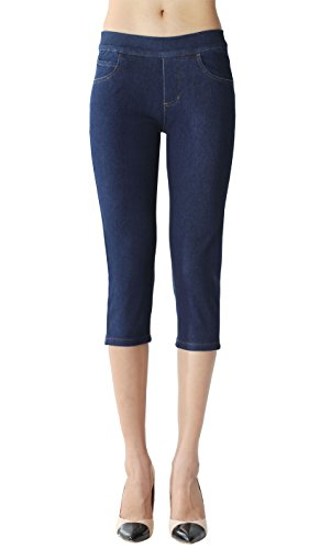 Blue Denim Stretch Capri Jeans (ISOLDE Skinny Capri Jegging Super Stretch Knit Denim For Women With Fully Functional Pockets-S, Dark Blue)