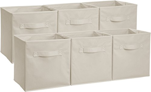 (AmazonBasics Foldable Storage Cubes - 6-Pack, Beige)