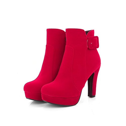 Red Womens Heels Chunky Boots Frosted Platform Buckle AdeeSu TAw01Eqd0