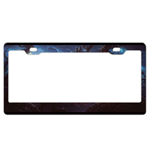 Boeshkey Halloween Town Pumpkin Night Alumina License Plate Frame Tag Holder with Screw Cap Covers -