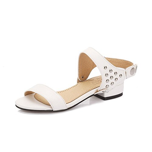 AllhqFashion Women's Open Toe Buckle PU Solid Low-heels Sandals White