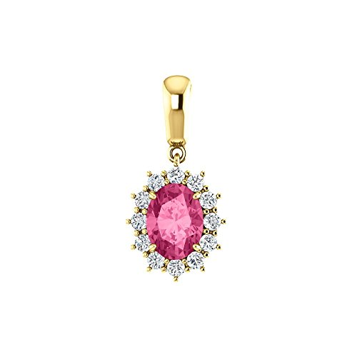 (14k Yellow Gold Pink Tourmaline & 1/3 Ct Diamond Cluster Pendant)