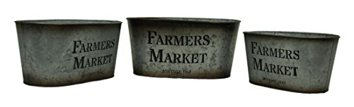 Zeckos Galvanized Finish Vintage Farmers Market 3 Piece Oval Tin Set