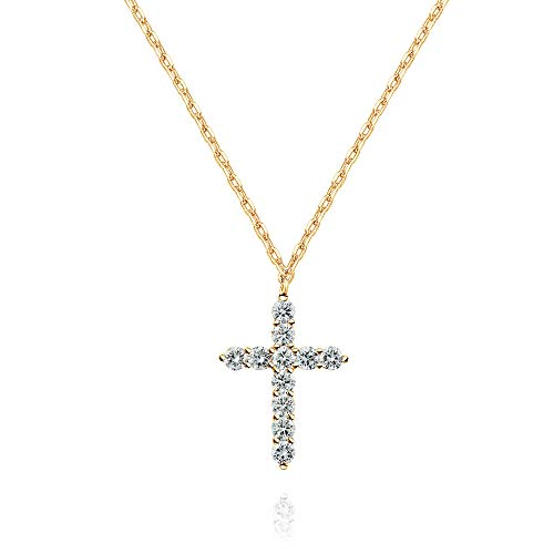 PAVOI 14K Yellow Gold Plated Faith Necklace for Women | Cross Pendant | Yellwo Gold Necklaces for Women