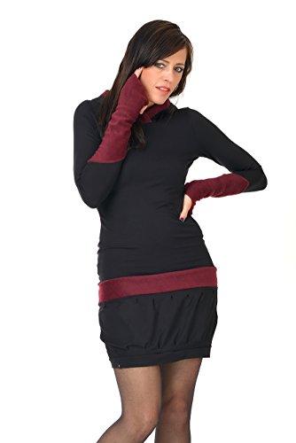 pile abito Gotico Nero Rosso 3Elfen abiti con con streetwear donna Vino casual cappuccio 5n0ZdOwxZU