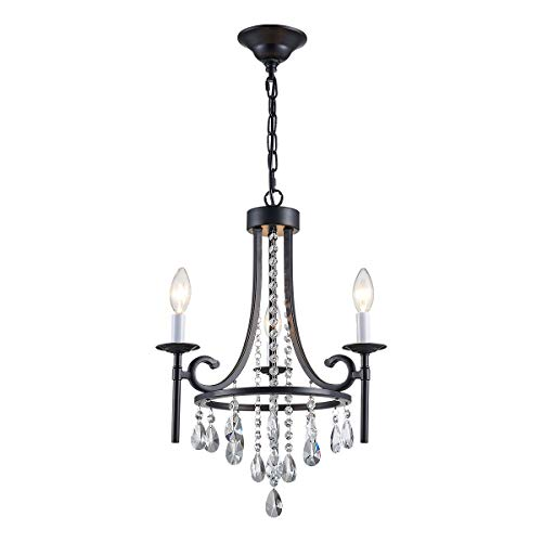 ANJIADENGSHI Modern Crystal Chandelier 3 E12 Bulbs with Adjustable Hanging Light Fixture for Dining Living Room Foyer Bedroom, Matte Black