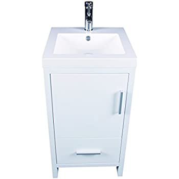 Sliverylake Contemporary White Bathroom Vanity Cabinet MDF Wood Undermount  Sink Bathroom Vanity Set With Resin Sink