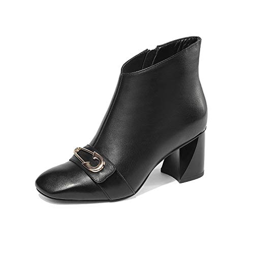 YAN Botas De Tobillo De La Mujer Cuero Cremallera Botines Cuadrados Cabeza Áspera Zapatos De Dama De Tacón De Vestir Formal Negro Blanco,Black,38: ...