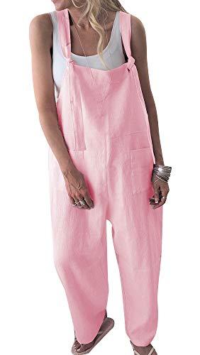 TOP-MAX Women's Loose Suspender Trousers Wide Leg Overalls Jumpsuit Romper Harem Pants Plus Size