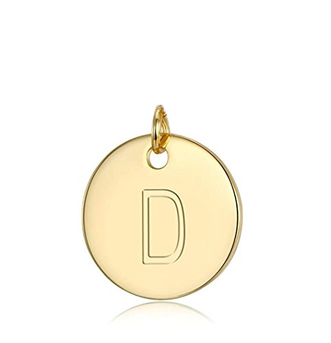 ling Silver Initial Disc Letter D Charm Pendant Personalize Earrings Bracelet Necklace Anklet Jewelry Making SLP1-4 ()