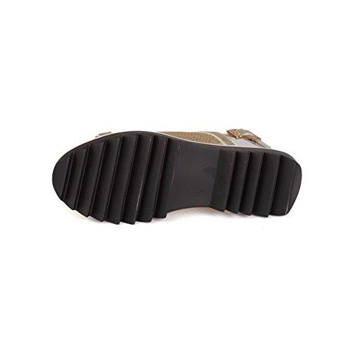 Sandals Toe Womens Solid Gold Open AllhqFashion Heels On Pull Low E8qPdwxC