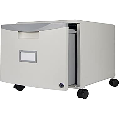 Storex Single Drawer Mini File Cabinet with Lock and Casters, 18.25 x 14.75 x 12.75 Inches, Gray (61263U01C)