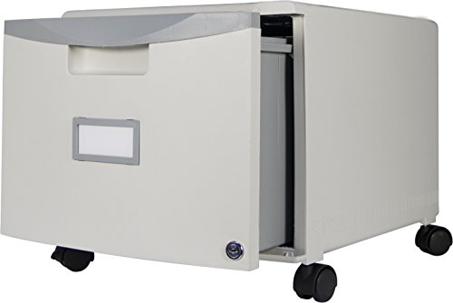 Storex Single Drawer Mini File Cabinet with Lock and Casters, 18.25 x 14.75 x 12.75 Inches, Gray (61263U01C) by Storex