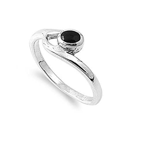 (Round Simulated Onyx Stone Staccato Art Ring 925 Sterling Silver Size)