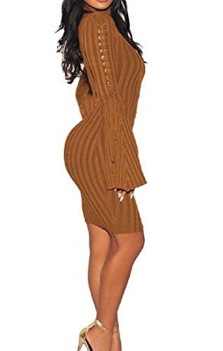 Clubwear Womens Vestito Sottile Marrone Forma Bodycon In Coolred Manica Lunga Fasciatura Dalla rq87UqT