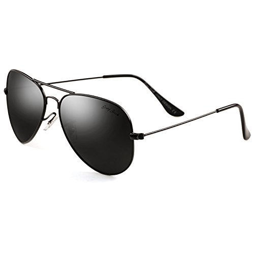 GREY JACK Polarized Classic Aviator Sunglasses Military Style for Men Women Black Frame Black Lens Large