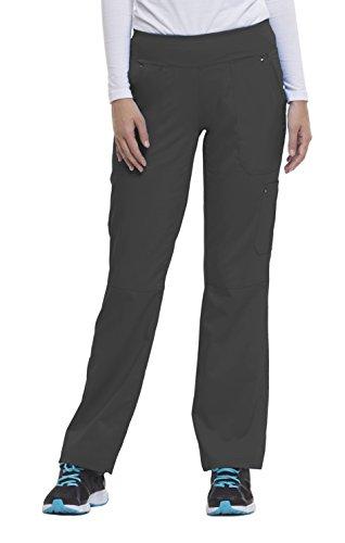 healing hands Purple Label Yoga Women's Tori 9133 5 Pocket Knit Waist Pant Scrubs- Pewter- Medium Petite