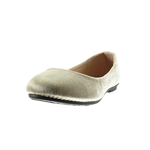 Angkorly - Zapatillas de Moda Bailarinas slip-on mujer Talón tacón plano 1 CM - Caqui